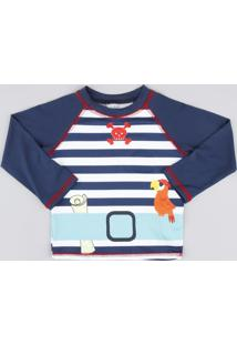 Camiseta De Praia Infantil Raglan Manga Longa Azul Marinho