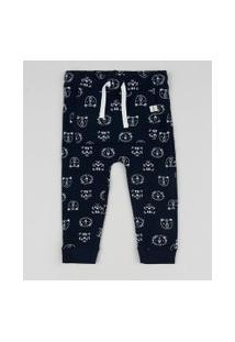 Calça De Moletom Infantil Estampada De Ursinhos Com Bolso Canguru Azul Marinho