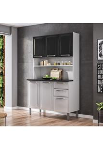 Cozinha Compacta Regina L 6 Pt 2 Gv Branca E Preta 120 Cm