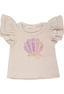 Camiseta Gira Baby Kids Infantil Bordado Concha Rosa