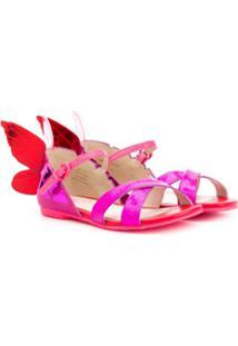 Sophia Webster Mini Sandália Color Block Com Borboleta - Rosa