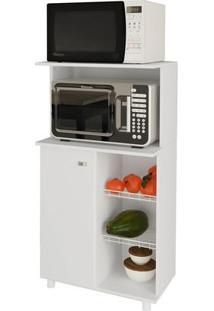 Balcão Fruteira Branco Com 1 Porta, 2 Aramados Para Frutas E Suporte Para Microondas