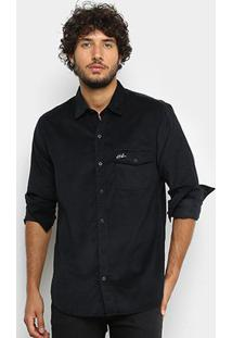 Camisa Manga Longa La Camizaria Hibou Veludo Masculina - Masculino-Preto
