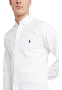 Camisa Ralph Lauren Masculina Custom Fit Oxford Branca