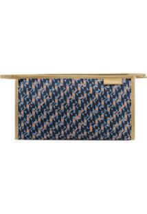 Nécessaire Retangular Geométrica- Azul Escuro & Marrom Cjacki Design