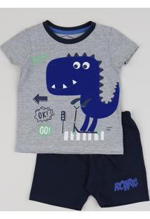 Pijama Infantil Dino Manga Curta Azul Marinho