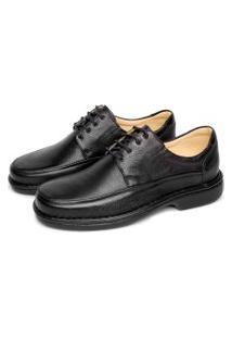 Sapato Em Couro Conforto Franca Brasil Tipo Anti Estresse Preta