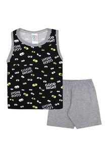Pijama Infantil Masculino Regata Preta Olhinhos E Shorts (4/6/8) - Kappes - Tamanho 8 - Mescla,Preto