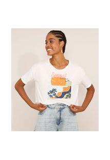"""Camiseta Feminina Manga Curta Cropped Oversized Sunset Paradise"""" Decote Redondo Off White"""""""