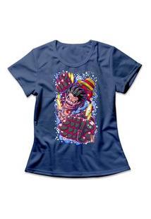 Camiseta Feminina One Piece Luffy Gear Fourth Azul