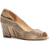 6eb64902e Peep Toe Couro Shoestock Anabela Cobra - Feminino-Cobra