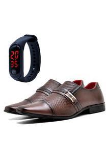 Sapato Social Elegant Com E Sem Verniz Com Relógio Led Fine Dubuy 814La Marrom
