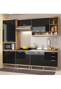 Cozinha Compacta 5 Peças Sicília 5808-S5 - Multimóveis - Argila / Preto