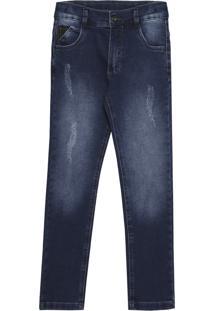 Calça Look Jeans Moletom Jeans Azul Marinho