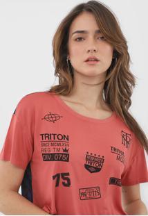 Camiseta Cropped Triton Estampada Rosa/Azul