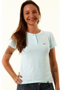 Camiseta Oitavo Ato Henley Feminina - Feminino-Azul Claro