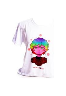Camiseta Branca Prorider Bad Rose Personagem Autoral Nanami Nem Sih