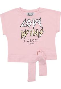 Camiseta Colcci Kids Love Wins Rosa