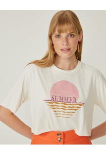 Amaro Feminino T-Shirt Cropped Summer, Off-White
