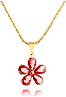 Colar Flor Com Zircônias Vermelhas Banhado Em Ouro 18K
