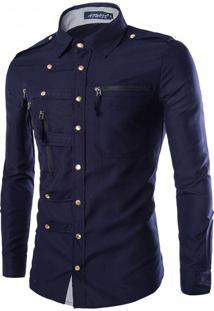 Camisa Masculina Slim Abotoada Manga Longa - Azul Marinho P
