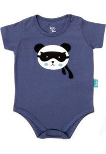 Body Jokenpô Bebê Pandinha - Masculino-Marinho