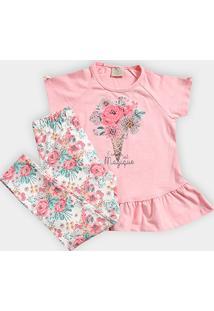 Conjunto Infantil Milon Estampado Floral Feminino - Feminino