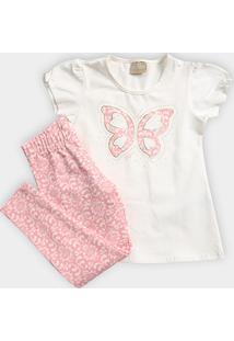 Conjunto Infantil Milon Estampado Borboleta Pérolas Feminino - Feminino 05b379e844