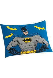 Fronha Do Batman®- Azul Cinza- 70X50Cm- Lepperlepper