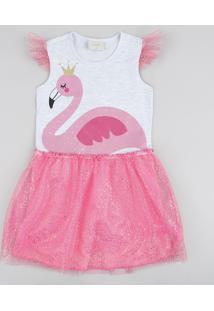 Vestido Infantil Carnaval Flamingo Com Tule Cinza Mescla