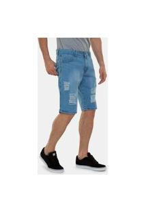 Bermuda Jeans Still Rasgada Destroyed Premium Casual Masculino Azul Claro