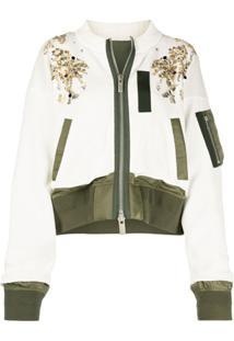 Sacai Sequin Embellished Zipped Jacket - Branco