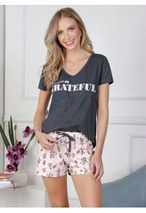 Pijama Mescla Com Flores Rosa E Mescla