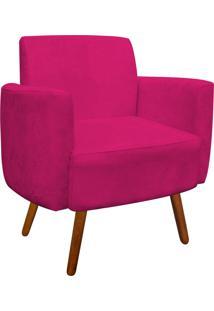 Poltrona D'Rossi Decorativa Agatha Suede Pink Braços Curvos