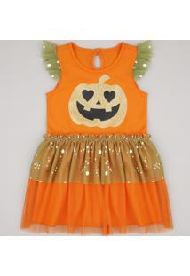 Vestido Infantil Halloween Abóbora Com Tule Sem Manga Laranja