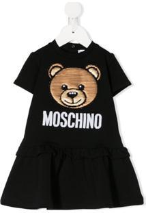 Moschino Kids Vestido Teddy Bear Com Paetês - Preto