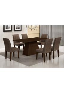 Conjunto Mesa Luna 180 Com 6 Cadeiras Grécia Suede Amassadocastor E Chocolate