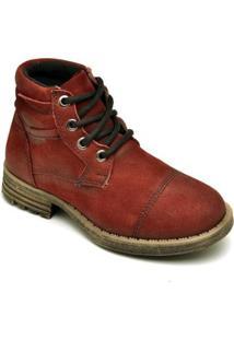 Bota D&R Shoes Cano Curto Em Couro Masculina - Masculino-Bordô