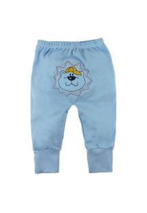Calça De Bebê Com Pé Reversível Azul Bebê Com Bordado No Bum Bum Azul Claro