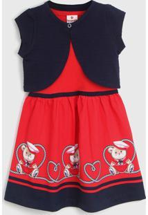 Vestido Brandili Infantil Com Bolero Vermelho/Azul-Marinho