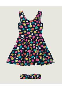 Vestido Poá Com Abertura Menina Zig Zig Zaa Azul Marinho - 2