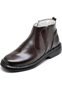 Bota Social Conforto Top Franca Shoes Masculino - Masculino-Cafe