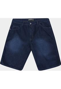 Bermuda Jeans Preston Plus Size Lavada - Masculino-Azul