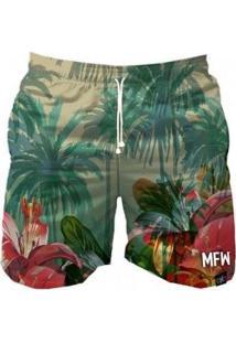 Bermuda Maromba Fight Wear Summer Flowers Com Bolsos Masculina - Masculino-Verde