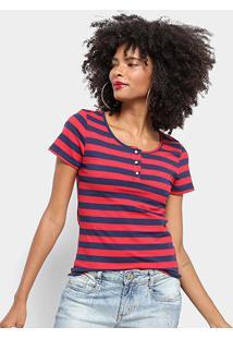 Camiseta Top Modas Listrada Botões Feminina - Feminino-Vermelho