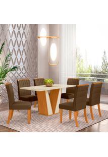 Conjunto De Mesa Com 6 Cadeiras Para Sala De Jantar Roma-Henn - Nature / Off White / Bege