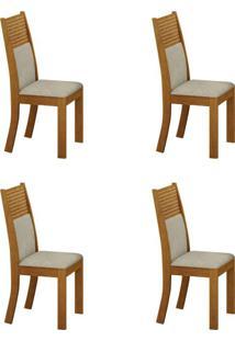 Conjunto Com 4 Cadeiras Havaí Imbuia E Metalacê