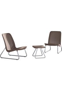 Conjunto Para Jardim Com 2 Cadeiras E 1 Mesa Rio Patio-Keter - Marrom