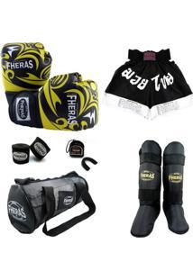 Kit Muay Thai Luva Shorts Bolsa Caneleira Bucal Bandagem 08 Oz Tribal - Masculino