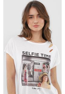 Camiseta Coca-Cola Jeans Amarração Branca - Kanui